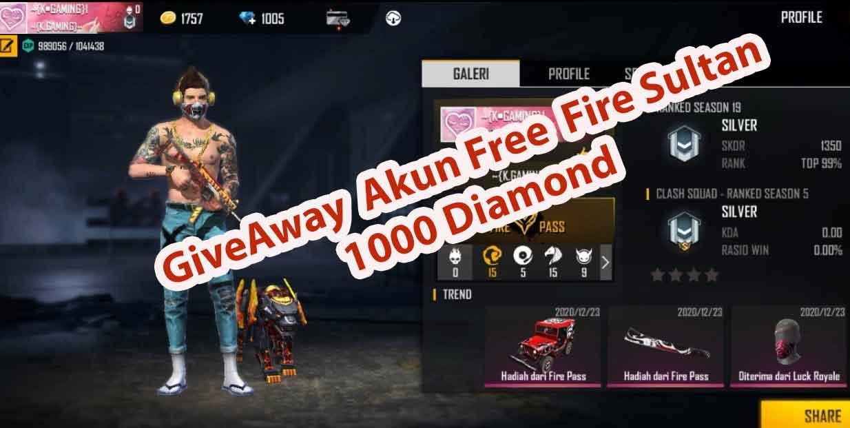Akun Free Fire Gratis No Hoax 1000 Diamond