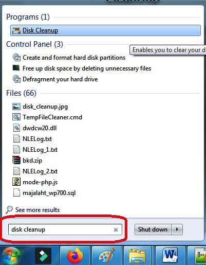 Cari Disk Cleanup