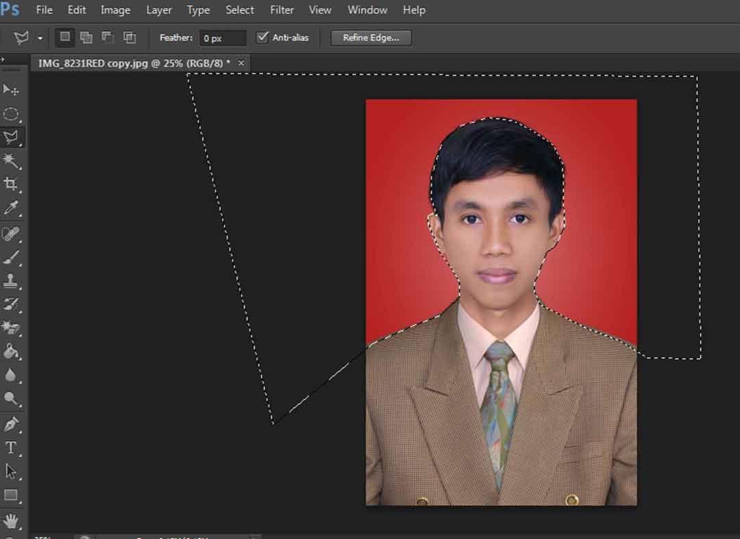 Select Background Dengan Polygonal Lasso Tool